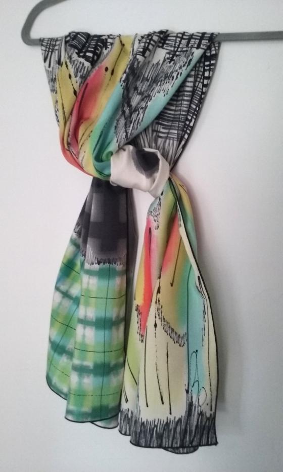 moitié prix bons plans 2017 photos officielles foulard echarpe carre etole soie peint main piece unique ...
